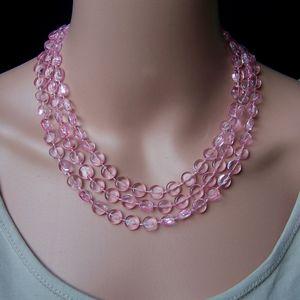 Z276# Perlenkette lang rosa Imitationsperlen Wickelkette Halskette