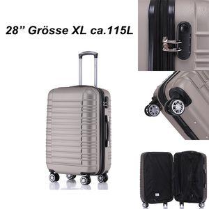 Reisekoffer Hartschalenkoffer ABS Hartschalenkoffer Trolley XL Champagner Reisekoffer Dehnungsfuge