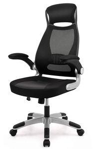 Bürostuhl, Schreibtischstuhl mit Hoher Rückenlehne, Ergonomischer Bürostuhl aus Mesh, Drehstuhl, Chefsessel mit Kopfstütze und klappbarer Armlehne