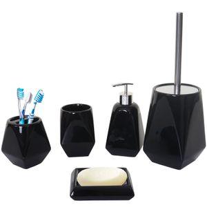 5-teiliges Badset HWC-C71, WC-Garnitur Badezimmerset Badaccessoires, Keramik  schwarz