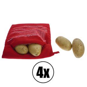 4x Kartoffeltasche Kochtasche Kartoffelbeutel Expresstasche Potato Bag für die Mikrowelle - Rot Wiederverwendbar