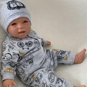 Baby Jungen Set 2-teilig Strampler + Mütze Gr. 56 grau