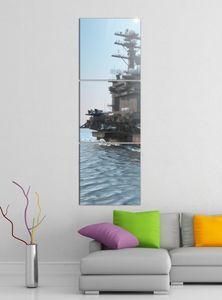 Leinwandbild 3tlg Flugzeug Flugzeugträger Krieg Schiff Bilder Druck auf Leinwand Vertikal Bild Kunstdruck mehrteilig Holz 9YA4024, Vertikal Größe:Gesamt  30x90cm