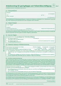 Arbeitsvertrag # 518 SD fürgeringfügig Beschäftigte  Liefermenge: 1