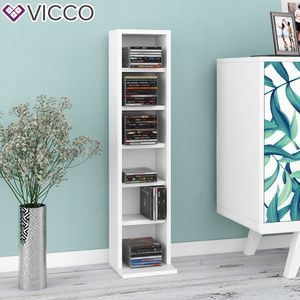 VICCO CD Regal DVD Ständer Weiß Wandregal Hängeregal Bücherregal Büroregal