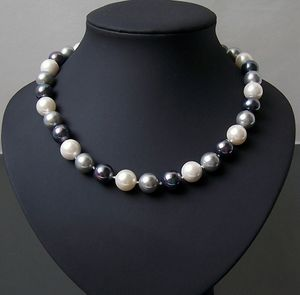 Kette Halskette Muschelkernperlen Perlenkette cream-grau-tahitigrau 45cm K2037