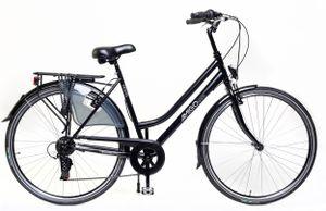 Amigo Moves - Cityräder für Damen 28 Zoll - Damenfahrrad geeignet ab 180-185 cm - Citybike mit Shimano 6 Gang-Schaltung - Schwarz