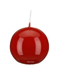 Kugelkerze Klarlack - hochglänzend Erdbeere/Weihnachtsrot  x 100mm, 4 Stück, gelackte Kerzen, exclusive besondere Kerzen