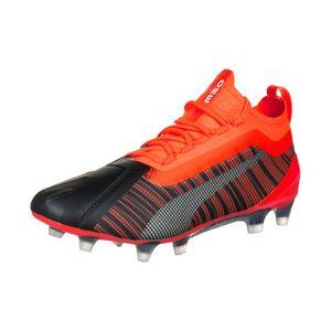PUMA ONE 5.1 FG/AG Jr Kinder Low Boot Fußballschuhe Schwarz-Rot-Silber Schuhe, Größe:37