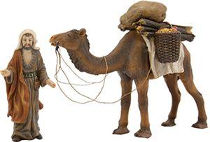 Kamel mit Treiber für Weihnachtskrippe. Passt zu 11 cm. Krippenfiguren, bemalt.