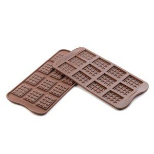 Schokoladenform Täfelchen 38x28x4,5mm, 12-tlg. aus Silikon