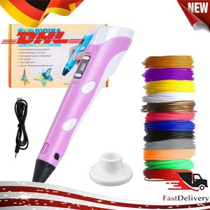 3D Pen + PLA Fliament Set,3D Stifte mit LCD-Bildschirm + 15 Farben Φ1,75 mm 3d Filament - insgesamt 120 ft, DIY Geschenk für Kinder Anfänger Erwachsene, kompatibel mit 1,75 mm ABS/PLA Rosa