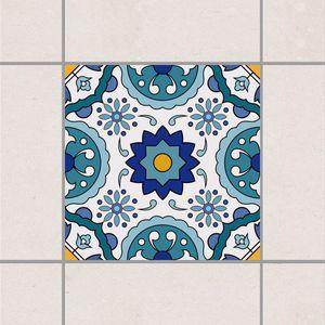 Fliesenaufkleber - Portugiesisches Fliesenmuster aus Azulejo 15cm x 15cm - Fliesensticker Set Türkis, Setgröße:10teilig