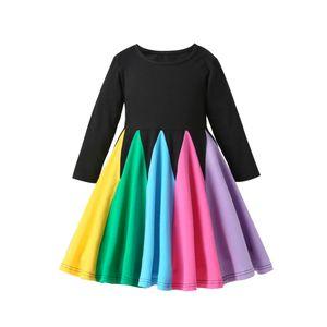 Maedchen Regenbogenkleid Princess Dress OP Schwarz 110