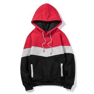 Herren Herbst Und Winter Mehrfarbige Nähte Mit Kapuze Lässiges Sweatshirt Langarmpullover,Farbe: Rot,Größe:S