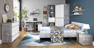 Jugendzimmer Set 8-teilig beton lichtgrau / weiß hochglanz