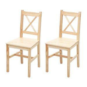 2x Esszimmerstuhl HWC-F77, Lehnstuhl Küchenstuhl Stuhl, Massiv-Holz Landhaus  Kiefer lasiert