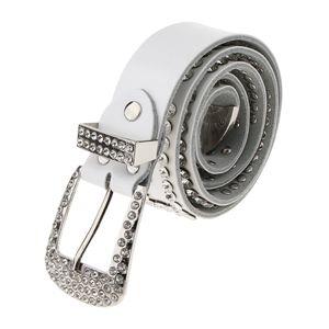 Damen Gürtel Jeansgürtel Hüftgürtel Taillengürtel mit glitzernder Strass Kristall Nieten Punk Ledergürtel Farbe Weiß