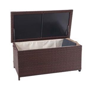 Poly-Rattan Kissenbox HWC-D88, Gartentruhe Auflagenbox Truhe  Premium braun, 51x115x59cm 250l