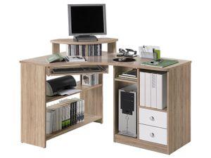"""Eck-Schreibtisch Bürotisch Computertisch Winkelschreibtisch Büromöbel """"Marcel I"""" Sonoma-Eiche/Weiß"""