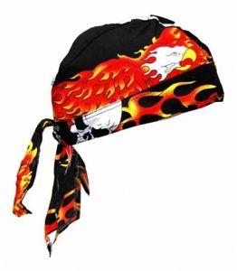 Bandana Cap Flame Eagle + Skull, Kopftuch mit Totenkopf + Adler in Flammen, Bandana Headscarf with Skull, Pañuelo pañuelo Con Calaveras, Foulard Bandana Avec des crânes