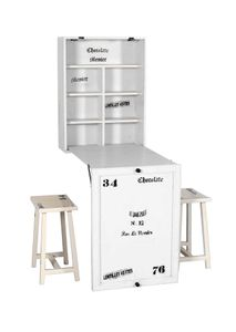 SIT Möbel Klapptisch mit 2 Hockern   Mangoholz + MDF antikweiß   zusammenklappbar   B 60 x T 25 x H 80 cm   06930-10   Serie TOLEDO