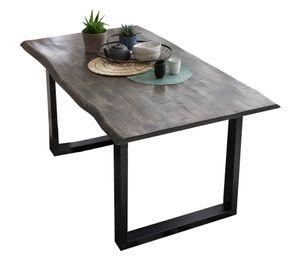SIT Möbel Esstisch 160 x 85 cm | 40 mm Tischplatte Mango grau | Stahlgestell schwarz | B 160 x T 85 x H 78 cm | 07107-76 | Serie TABLES & CO