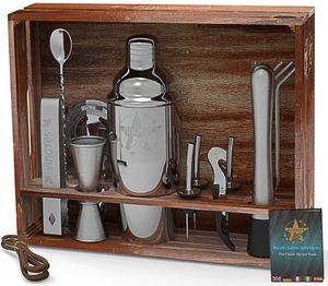 VinoYes Cocktail Shaker Set – 16 Teiliges Premium Profi Bar Werkzeug aus Edelstahl in Einer tollen Holzkiste und Rezeptbuch – Mixer Set mit Ständer in edler Geschenkbox.