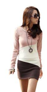 Isol Mississhop Damen Mini Kleid kurze Tunika Langarm Shirt Bluse Longshirt mehrfarbig Rosa Beige Braun L