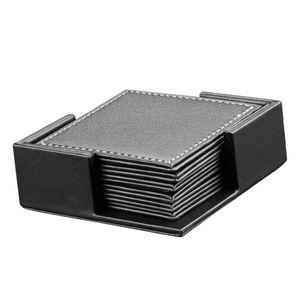 Kunstleder Getränke Coaster Home-Office-Tagungsraum Becher Coater Pads schwarz 10 × 10 × 0,6 cm