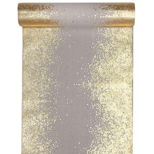 Tischläufer Sprinkles 28 cm x 3 m - natur & gold für Weihnachten Geburtstag Hochzeit