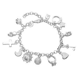 Silber 13 Anhänger Charm Armband Kettenarmband Hängender Modeschmuck Deko