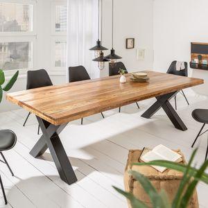 Massiver Esstisch IRON CRAFT 240cm Mangoholz Industrial Design mit X-Beinen Konferenztisch Tisch