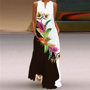 Mode Damen Casual Sommer Lose Printed Rundhalsausschnitt ärmelloses Kleid Größe:XL,Farbe:Rosa