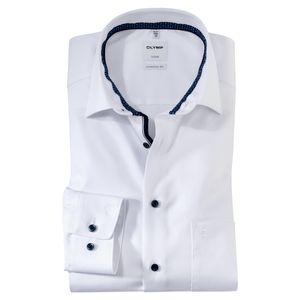 Olymp Übergrößen Langarmhemd bügelfrei weiß Struktur, Kragenweite:46