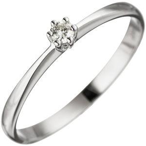 JOBO Damen Ring 50mm 585 Gold Weißgold 1 Diamant Brillant Weißgoldring Diamantring