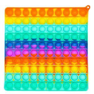 Large Pop It Zappeln Spielzeug Blase Sensorisches Zappeln Spielzeug, Autismus Besondere Bedürfnisse Stressabbau Silikon Stressabbau Spielzeug(Quadratisch schillernd)