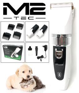 M2 Tec Profi Schermaschine + 2X Akku Felltrimmer Tierhaarschneider Hunde und Katzen Rasierer in Weiß