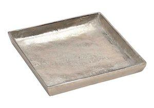 Tablett Dekoteller silber Metall massiv Tischdeko Schale Dekoschale Dekotablett(Modell 1: 20 x 20 cm)