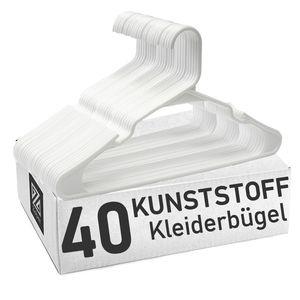 Clothink 40er-Pack Weiss Kleiderbügel Platzsparend, starker hochwertiger Kunststoff für Gute Belastbarkeit - Kleiderbügel für Hemd, Kleid, Anzug, Jacke, Träger - rutschfest