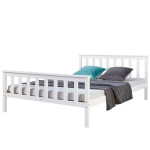Homestyle4u 890, Holzbett 140x200 cm Weiß, Doppelbett mit Lattenrost, Kiefer Massivholz