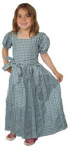 Mädchen Kinder Dirndl Mädchendirndl Kleid Grün/weiß kariert, Größe:134