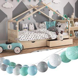 VICCO Lichterkette Baumwolle Balls Girlande grau weiß mint-grün hellblau 310 cm