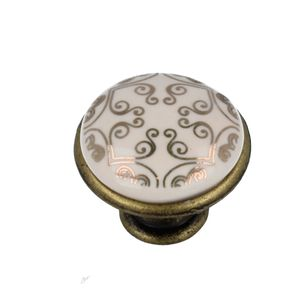 Möbelknopf Schrankknopf Porzellan mit Ornament alt Messing