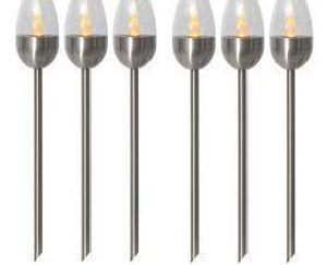 BUVTEC 6er-Set LED-Solar-Gartenfackel 'Toulon' Edelstahl, ca.37 x 6 cm LED, mit Solarpanel, incl. Akku, Outdoor