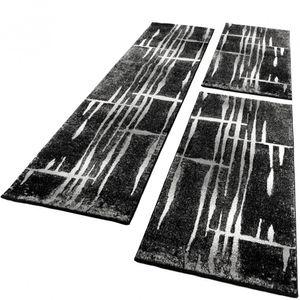 Bettumrandung Läufer Teppich Meliert Design Grau Schwarz Weiss Läuferset 3 Tlg., Grösse:2mal 60x100 1mal 70x250
