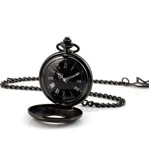 Vintage Römischen Schwarzen Ziffern Legierung Quarz Taschenuhr Halskette Kette
