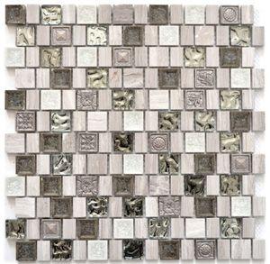 Mosaikfliese Transluzent Resin Keramik Feinzeug grauweiß Multiformat Glasmosaik Crystal Stein Resin Keramik wood white MOS82-2002