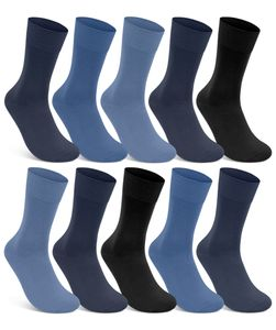 10 Paar Damen & Herren Socken 100% Baumwolle ohne Naht ohne Gummidruck Jeans Blau Schwarz 39-42