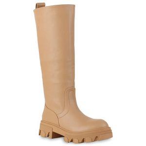 VAN HILL Damen Leicht Gefütterte Plateaustiefel Stiefel Profil-Sohle Schuhe 837802, Farbe: Hellbraun, Größe: 39